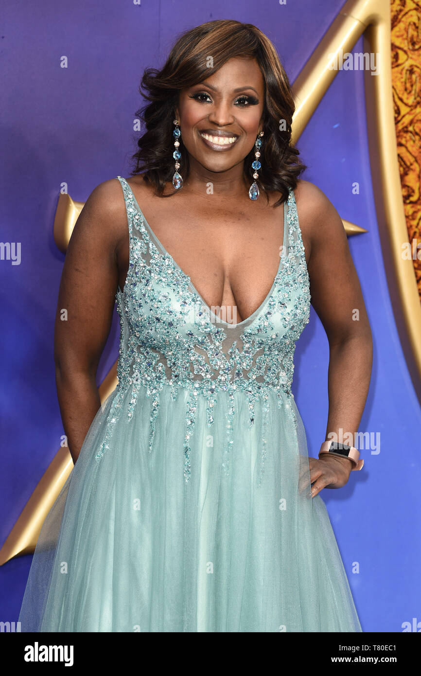 "London, UK. 09th May, 2019. LONDON, UK. May 09, 2019: Kellie Bryan at the ""Aladdin"" premiere at the Odeon Luxe, Leicester Square, London. Picture: Steve Vas/Featureflash Credit: Paul Smith/Alamy Live News Stock Photo"