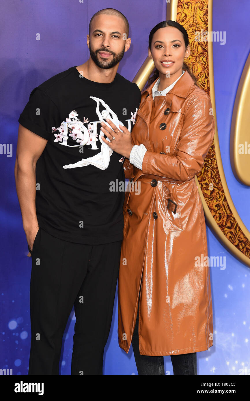 "London, UK. 09th May, 2019. LONDON, UK. May 09, 2019: Rochelle Humes & Marvin Humes at the ""Aladdin"" premiere at the Odeon Luxe, Leicester Square, London. Picture: Steve Vas/Featureflash Credit: Paul Smith/Alamy Live News Stock Photo"