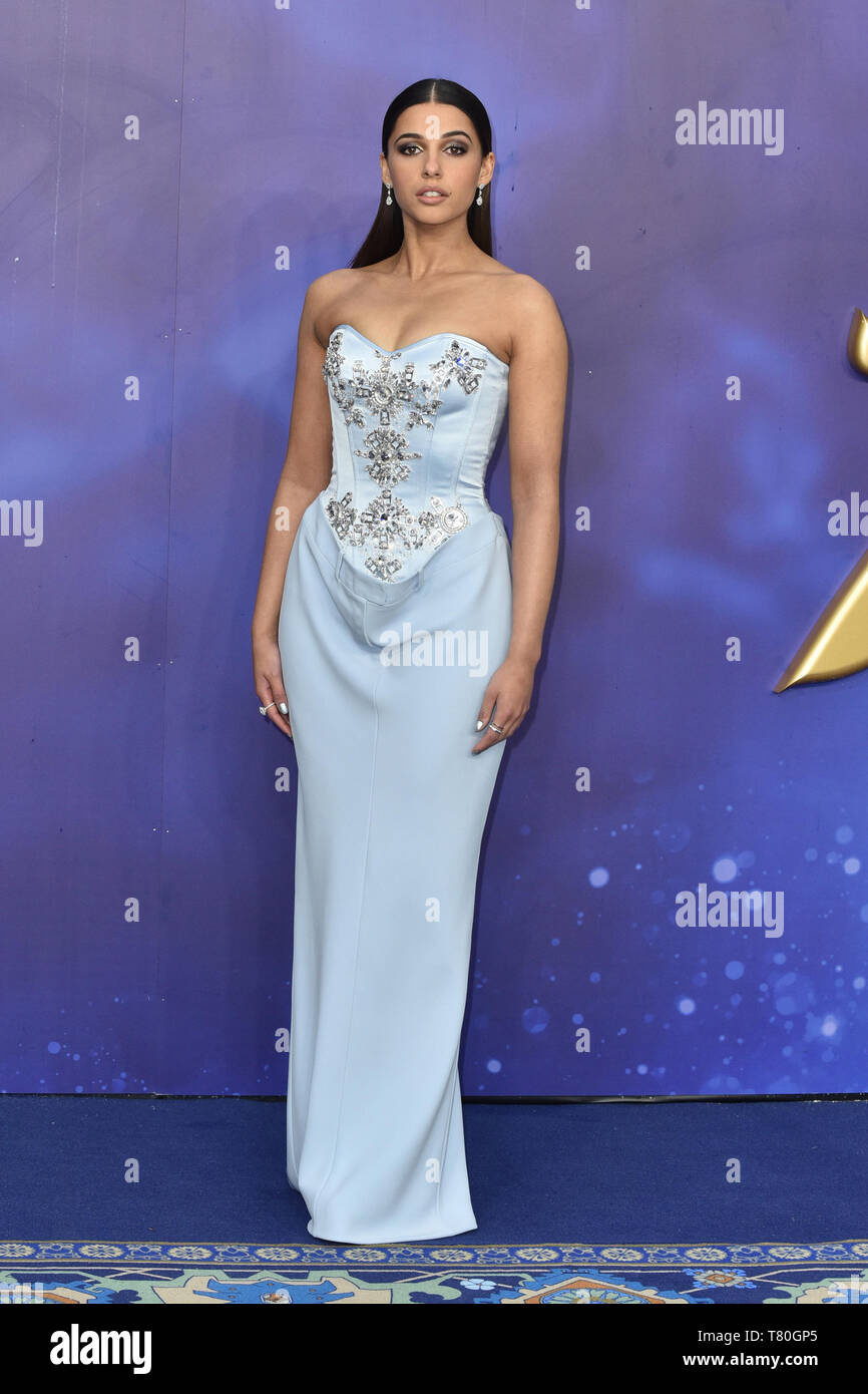Naomi Scott attends the European Gala of 'Aladdin' at the Odeon Luxe Leicester Square in London, England - Stock Image