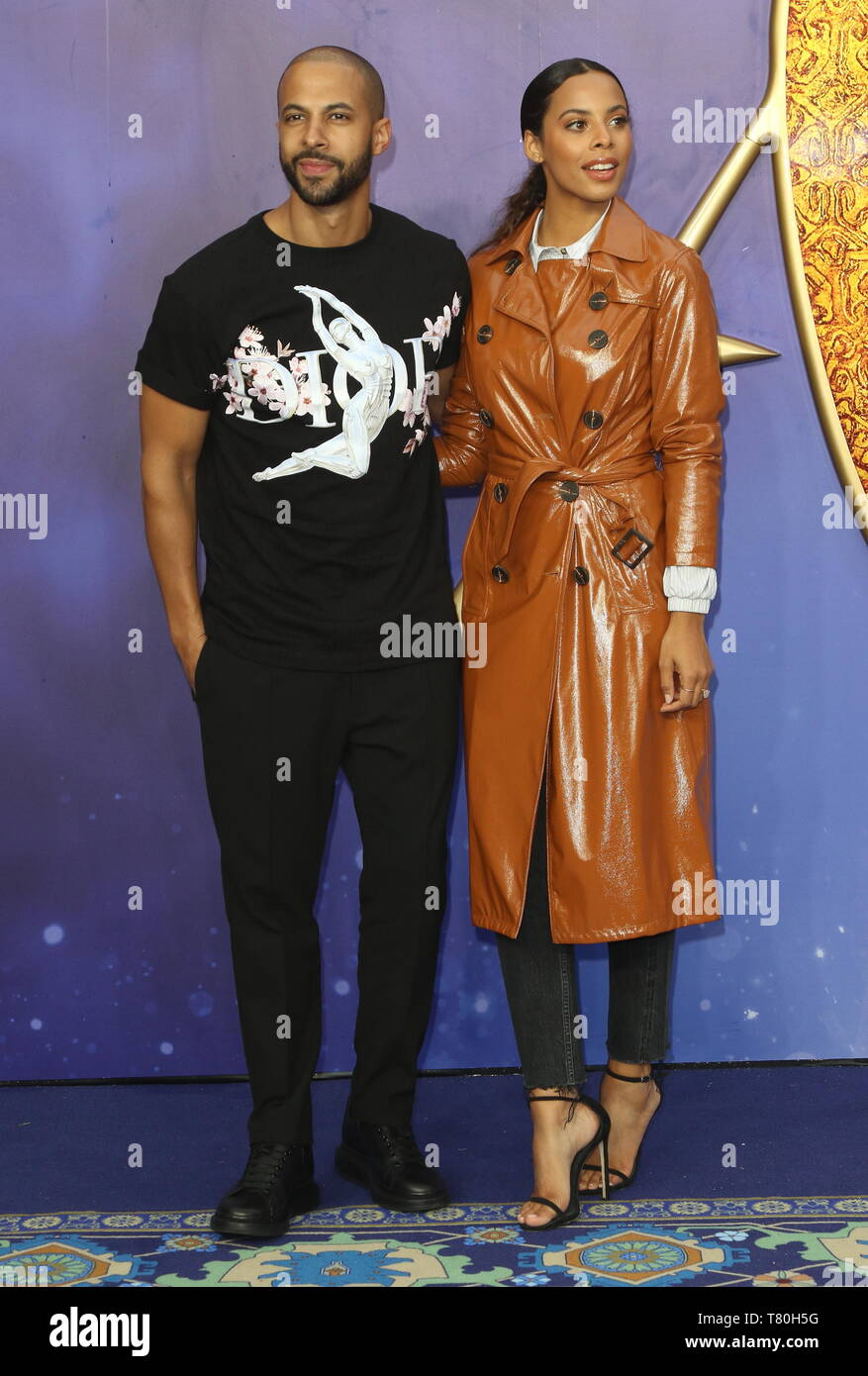 Marvin Humes and Rochelle Humes attends the Aladdin European Gala Screening at the Odeon Luxe Leicester Square - Stock Image