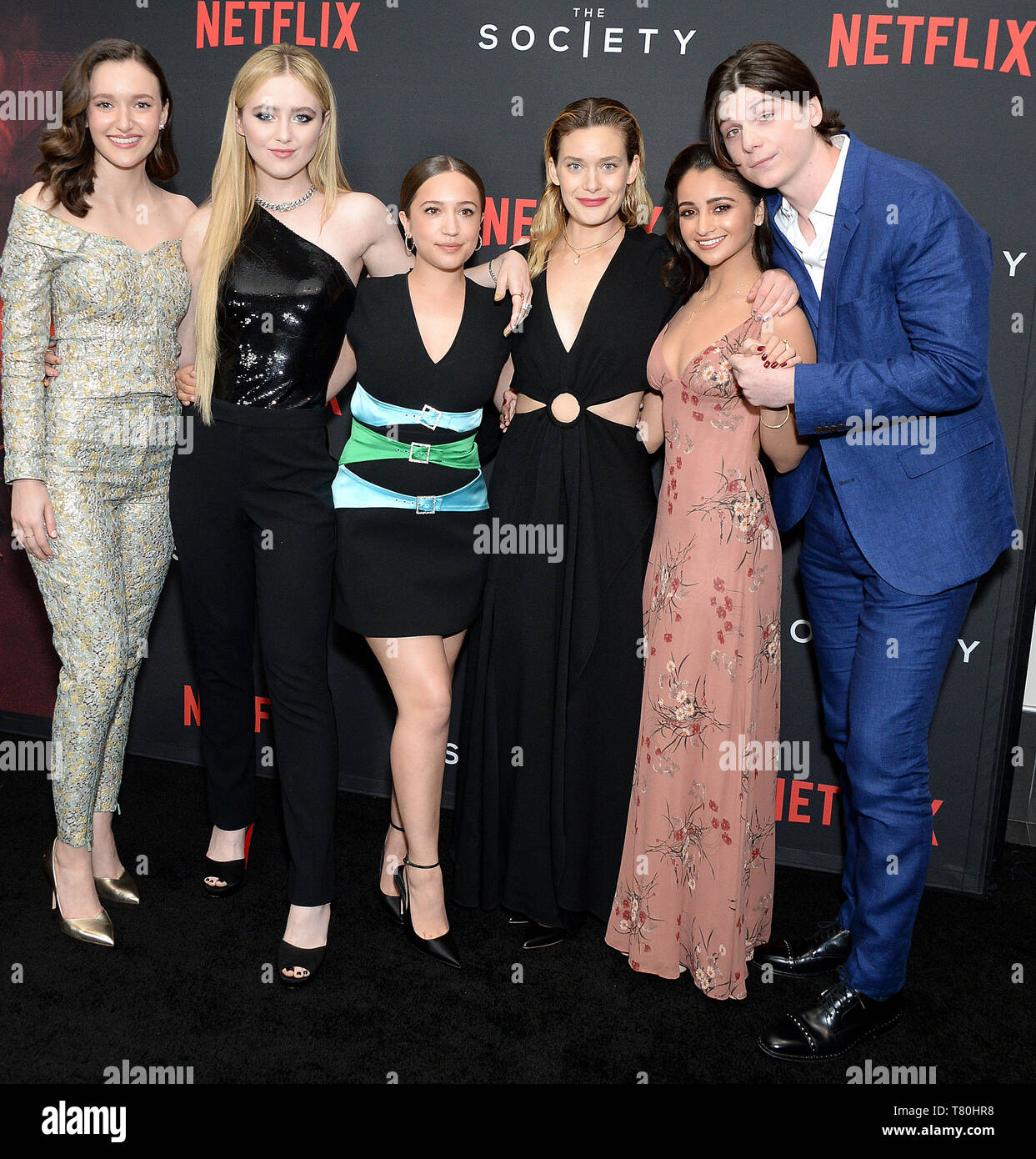 Los Angeles, California, USA. 09th May, 2019. Pictured: Olivia Nikkanen, Kathryn Newton, Gideon Adlon, Rachel Keller, Salena Qureshi, Jack Mulhern Mandatory Credit © Gilbert Flores/BroadimageNetflix - The Society Season 1 Premiere - Arrivals 5/9/19, Regal Cinemas L.A. LIVE, Los Angeles CA, United States of America Credit: Broadimage Entertainment/Alamy Live News - Stock Image