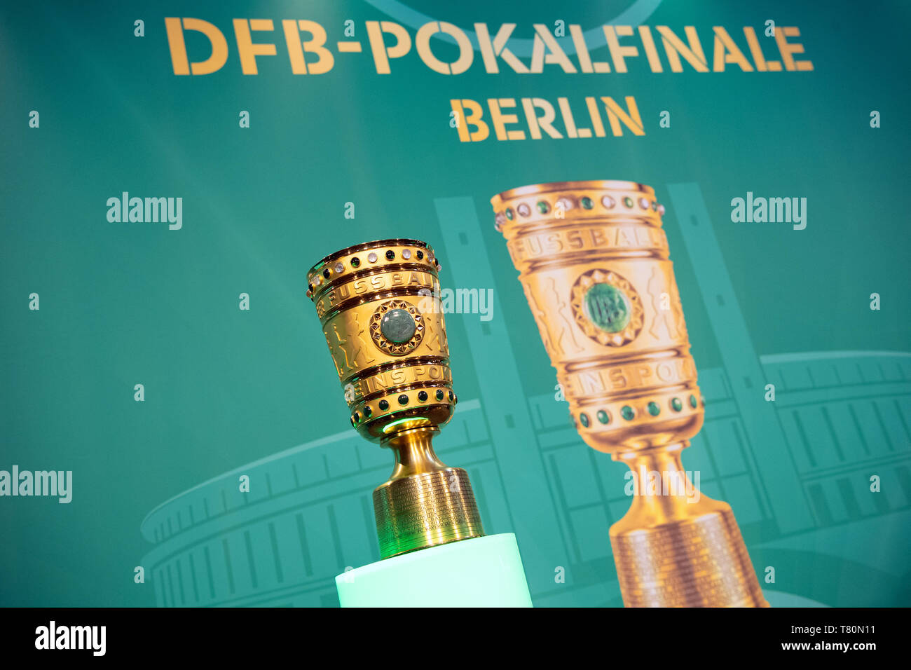 Berlin, Germany. 10th May, 2019. Soccer: DFB Cup, Cup Handover of the DFB Cup. The DFB Cup will be placed on a pedestal before the start of the event. Credit: Soeren Stache/dpa/Alamy Live News - Stock Image