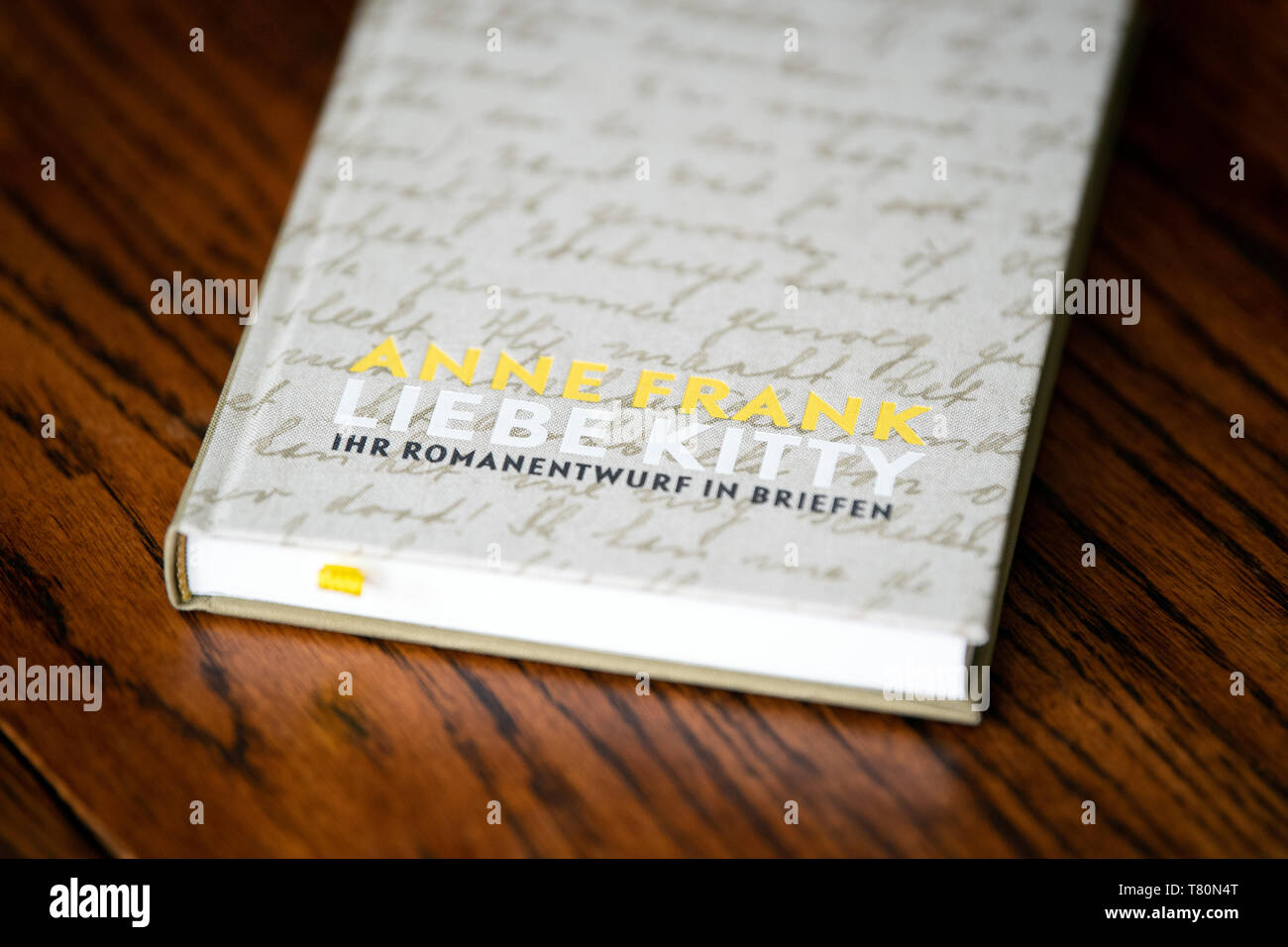 Berlin, Germany. 09th May, 2019. The newly published book 'Anne Frank - Liebe Kitty'. 'Dear Kitty' is the imaginary addressee of many diary letters from Anne Frank. (for 'Love Kitty' - Anne Frank's novel is rediscovered) Credit: Soeren Stache/dpa/Alamy Live News - Stock Image