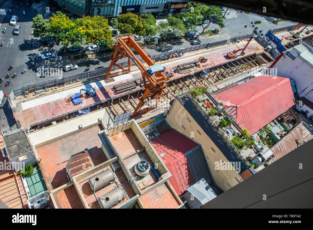 Construction of the new underground railway in Ho Chi Minh City, Vietnam. - Stock Image