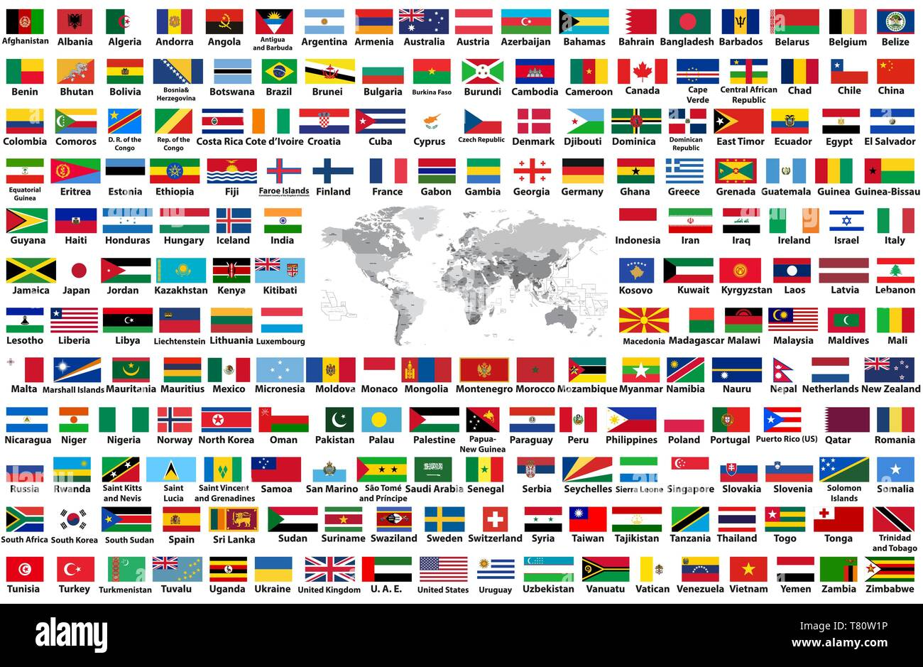 vector set of all world flags arranged in alphabetical order isolated on white background. World map with countries names and borders Stock Vector