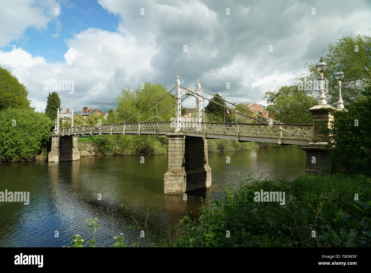 Wrought iron suspension bridge built in 1898 to celebrate Queen Victoria's Diamond Jubilee, listed Grade II - Stock Image