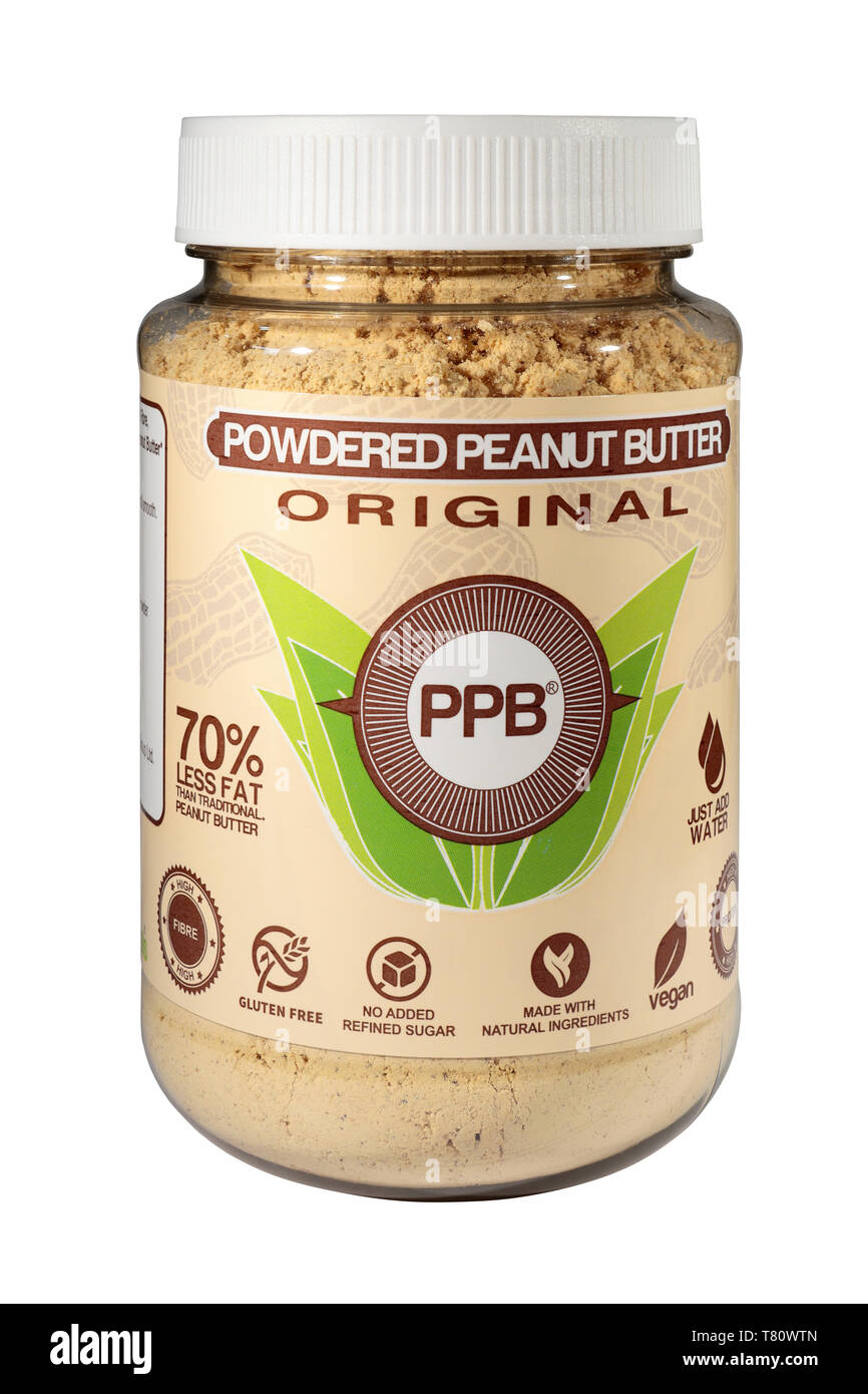 A Jar of PPB - Powdered Peanut Butter - 70% less fat, high fibre, gluten free, no added refined sugar, vegan, isolated on a white background - Stock Image