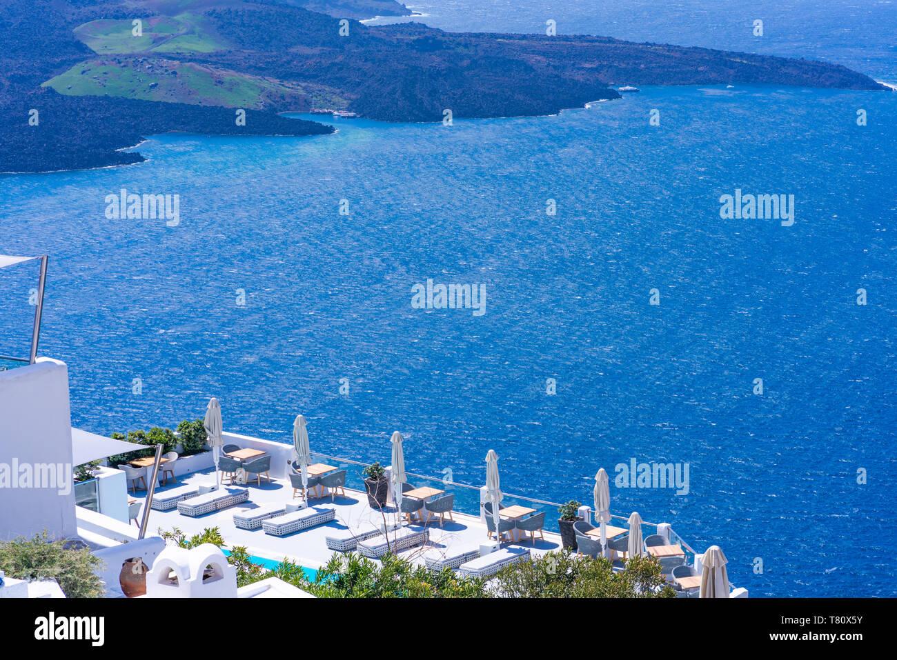 View Of Volcano Caldera And Aegean Sea In Fira Santorini
