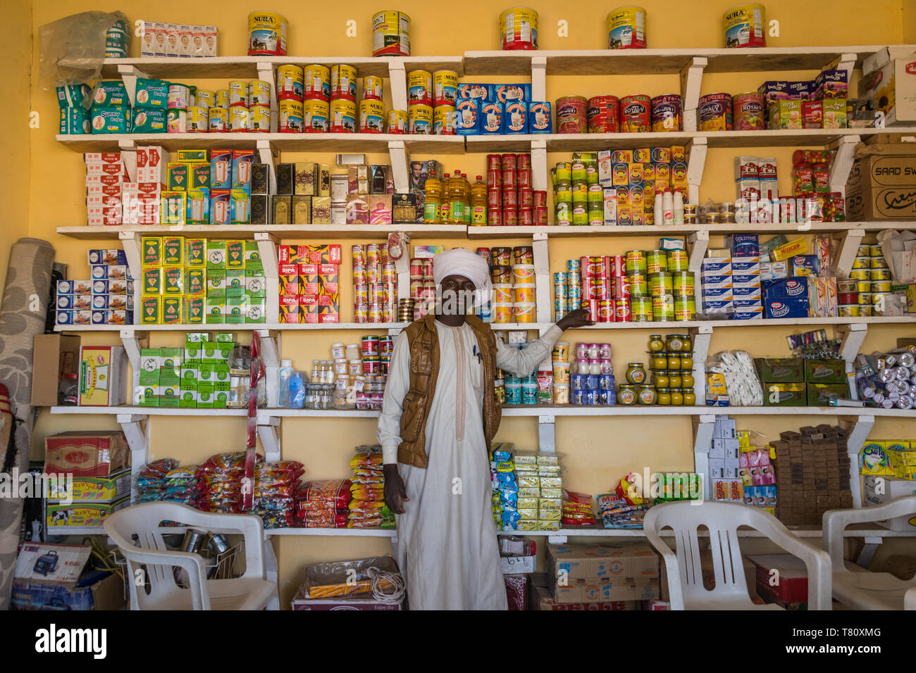 Toubou man in a store, Sahel, Chad, Africa - Stock Image