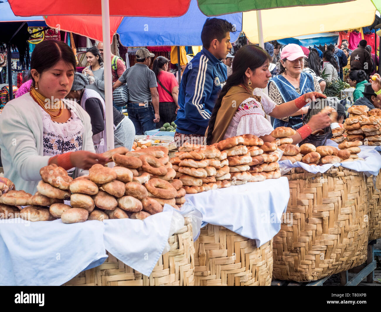 Bread for sale, market, Plaza de los Ponchos, Otavalo, Ecuador, South America - Stock Image