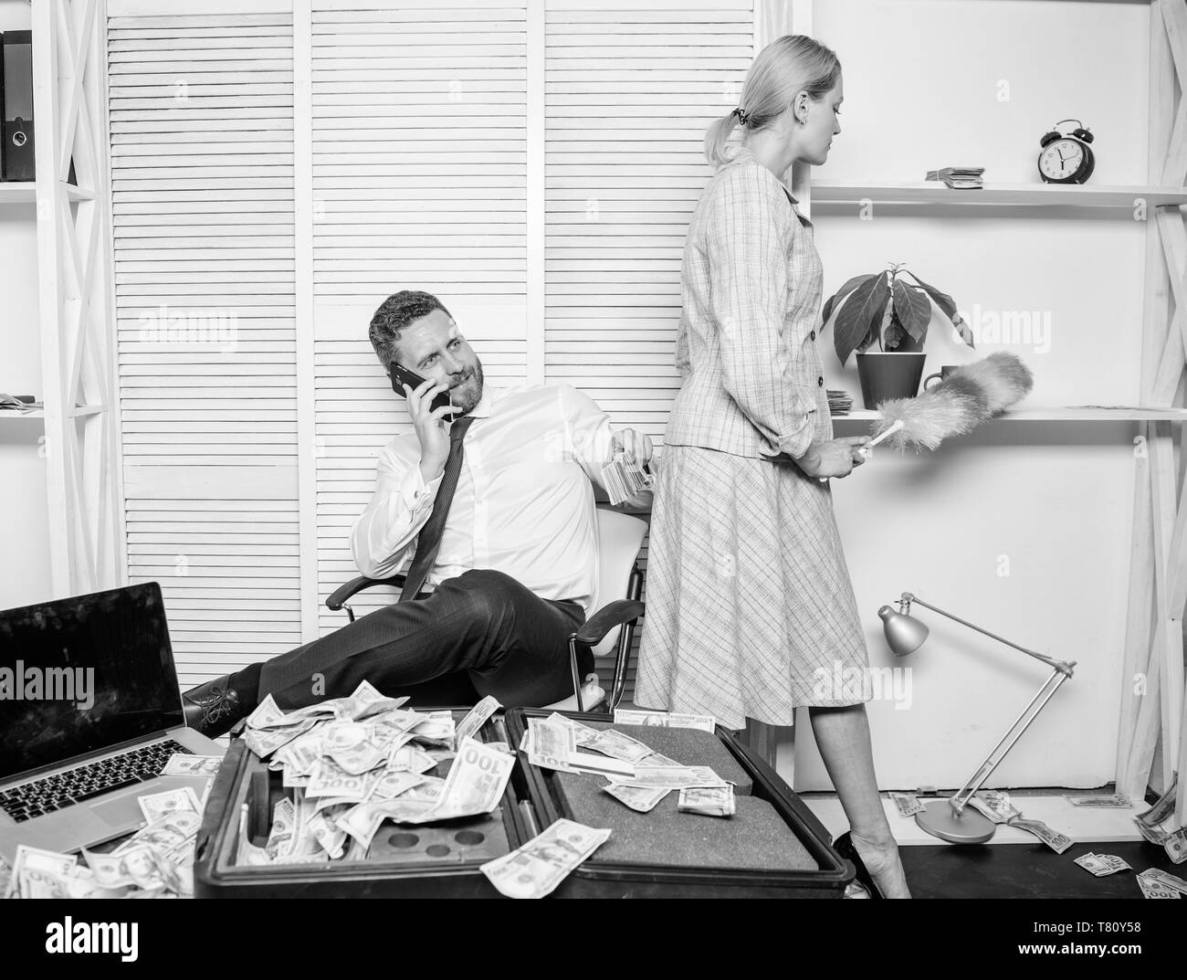 Discrimination concept. Equal rights for education work and salary. Gender discrimination in business life. Female discrimination at workplace. Woman cleaning up office while boss counting money. - Stock Image