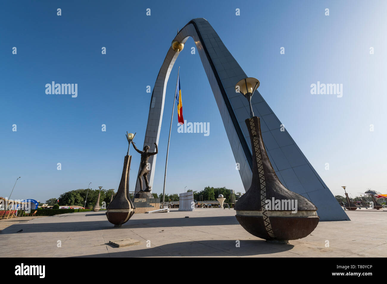 Backlight of the monument of Independence, Place de la Nation, N'Djamena, Chad, Africa - Stock Image