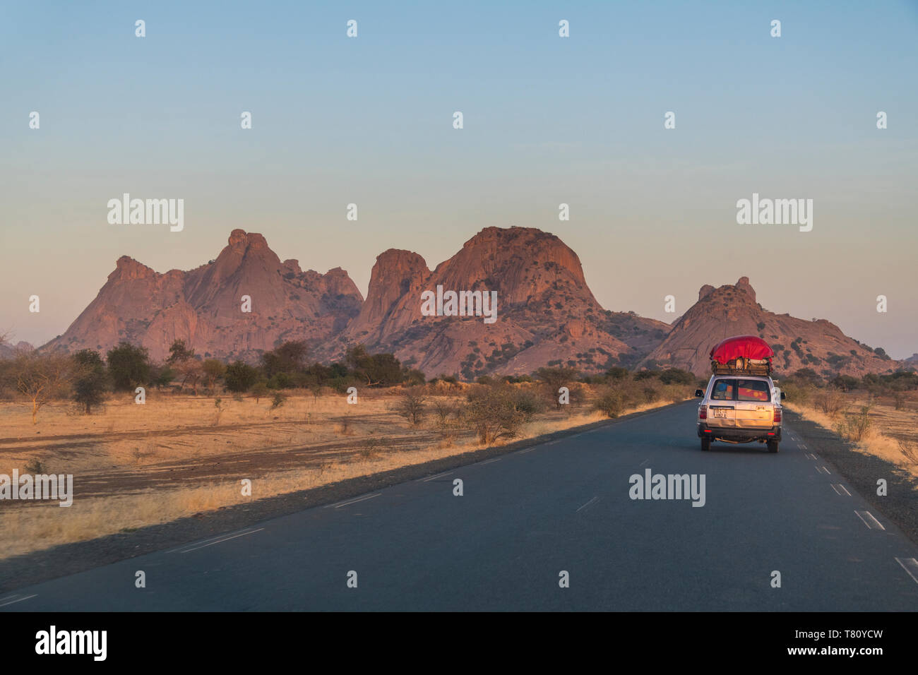 Road leading through southern Chad, Africa - Stock Image