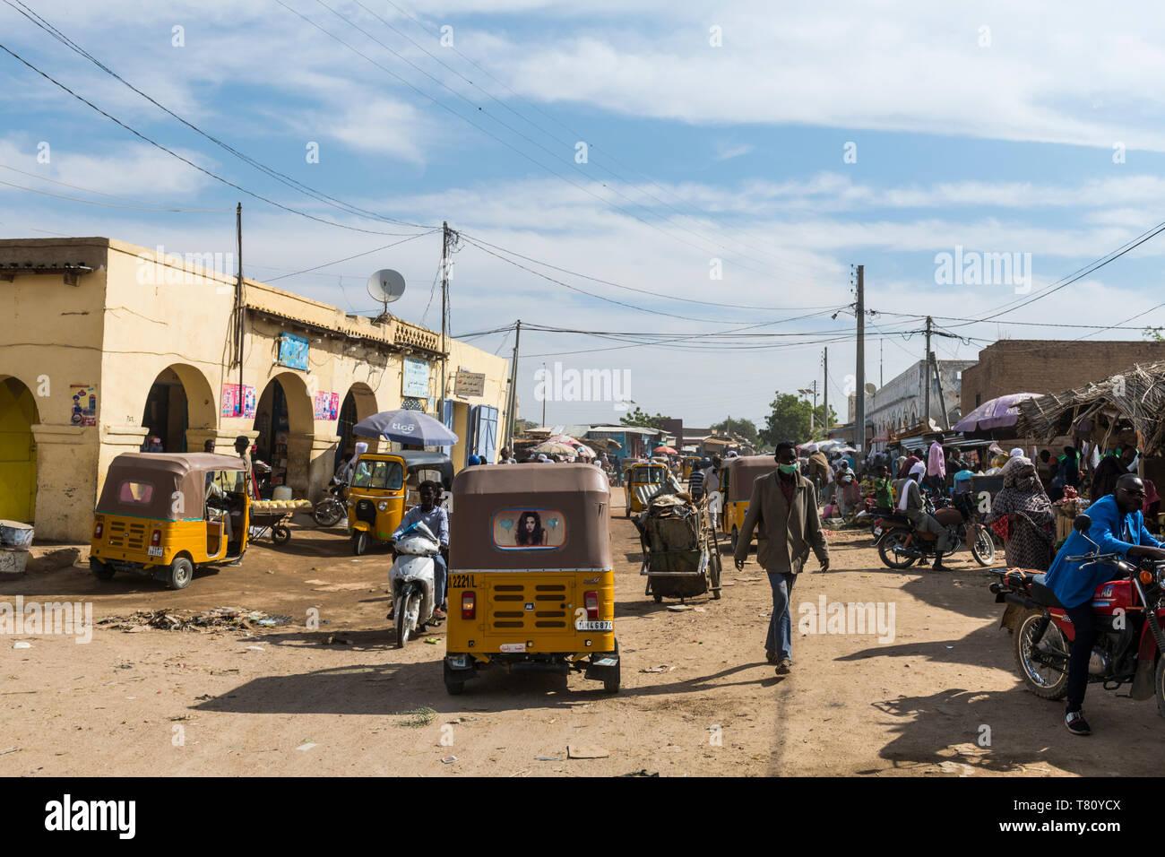 Market scene, Abeche, Chad, Africa - Stock Image