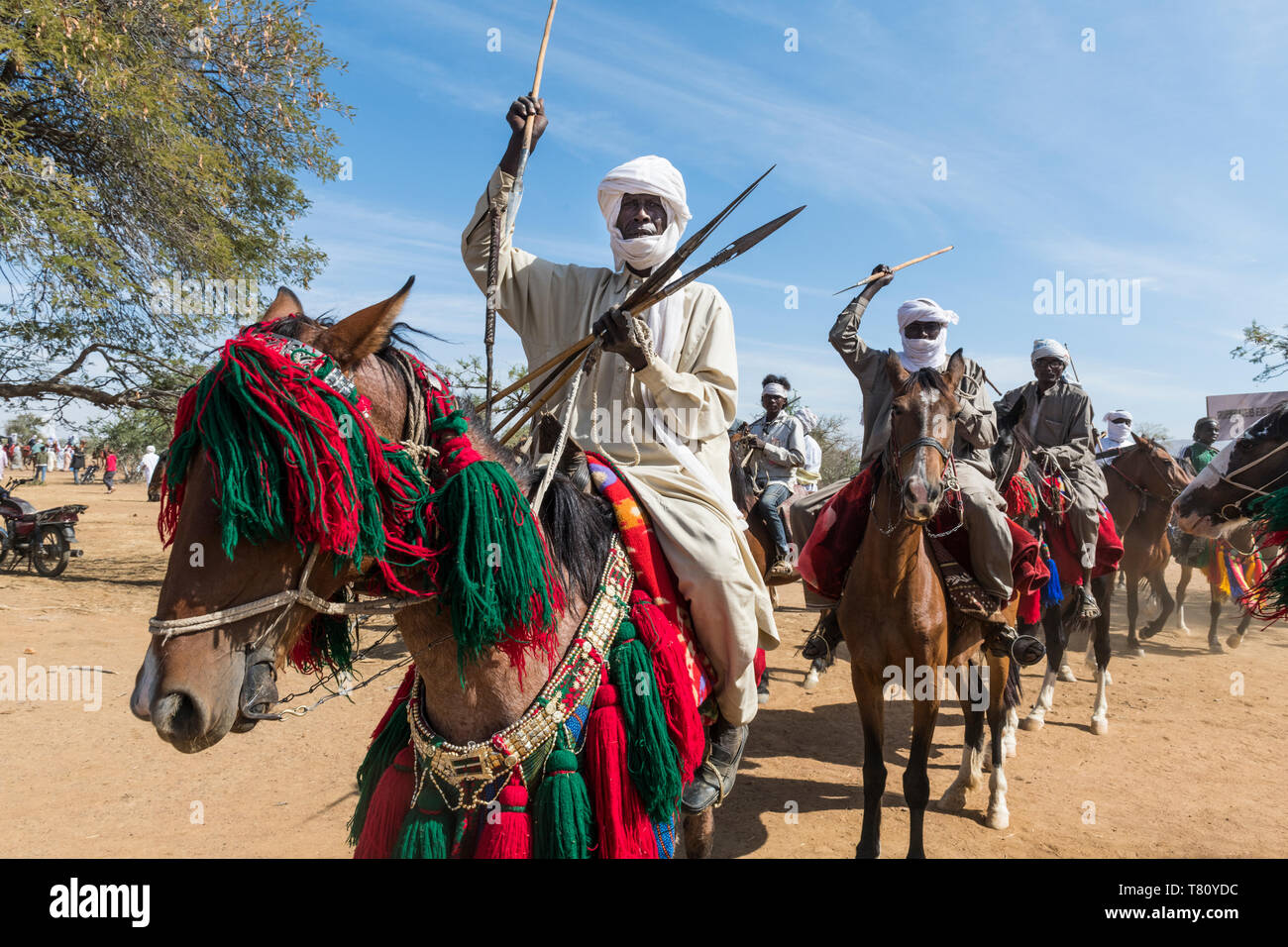 Colourful horse rider at a Tribal festival, Sahel, Chad, Africa - Stock Image