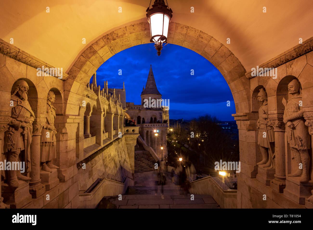 The Fishermans Bastion at night, UNESCO World Heritage Site, Budapest, Hungary, Europe Stock Photo