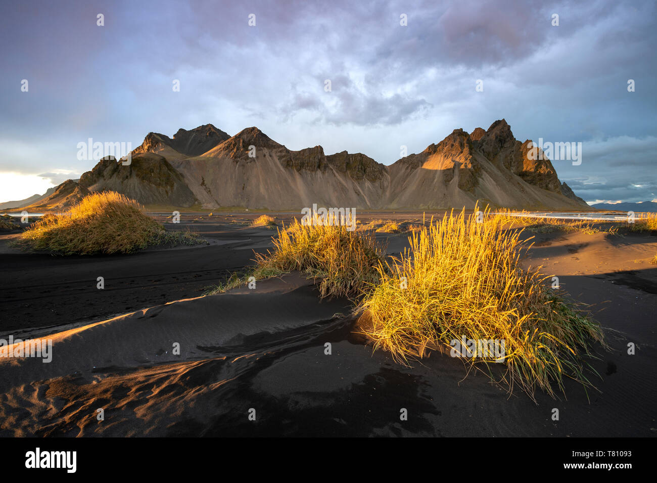 The view of the mountains of Vestrahorn from black volcanic sand beach with grasses at sunset, Stokksnes, South Iceland, Iceland, Polar Regions Stock Photo