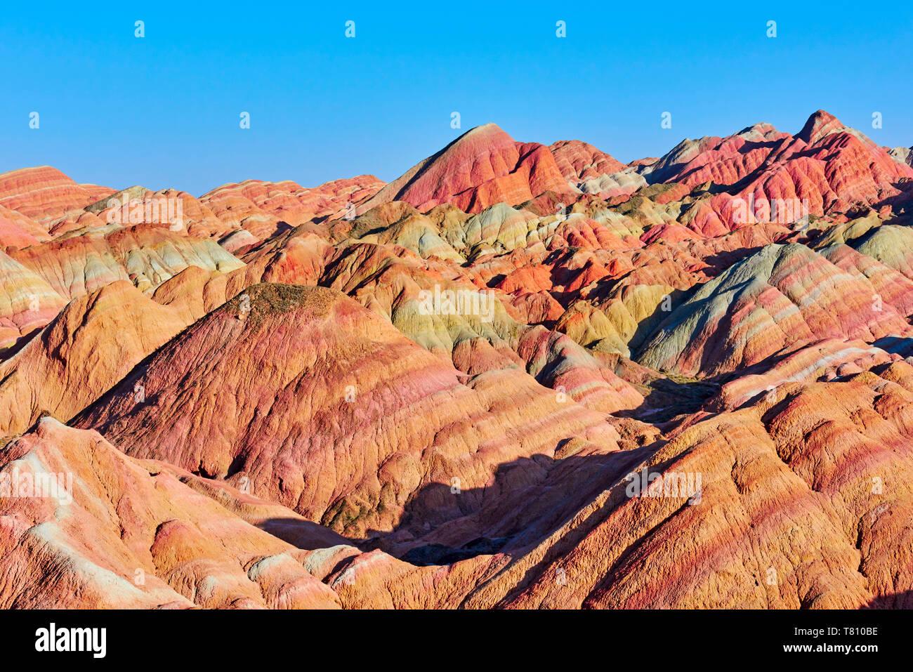 Colorful Danxia landform in Zhangye, UNESCO World Heritage Site, Gansu Province, China, Asia - Stock Image