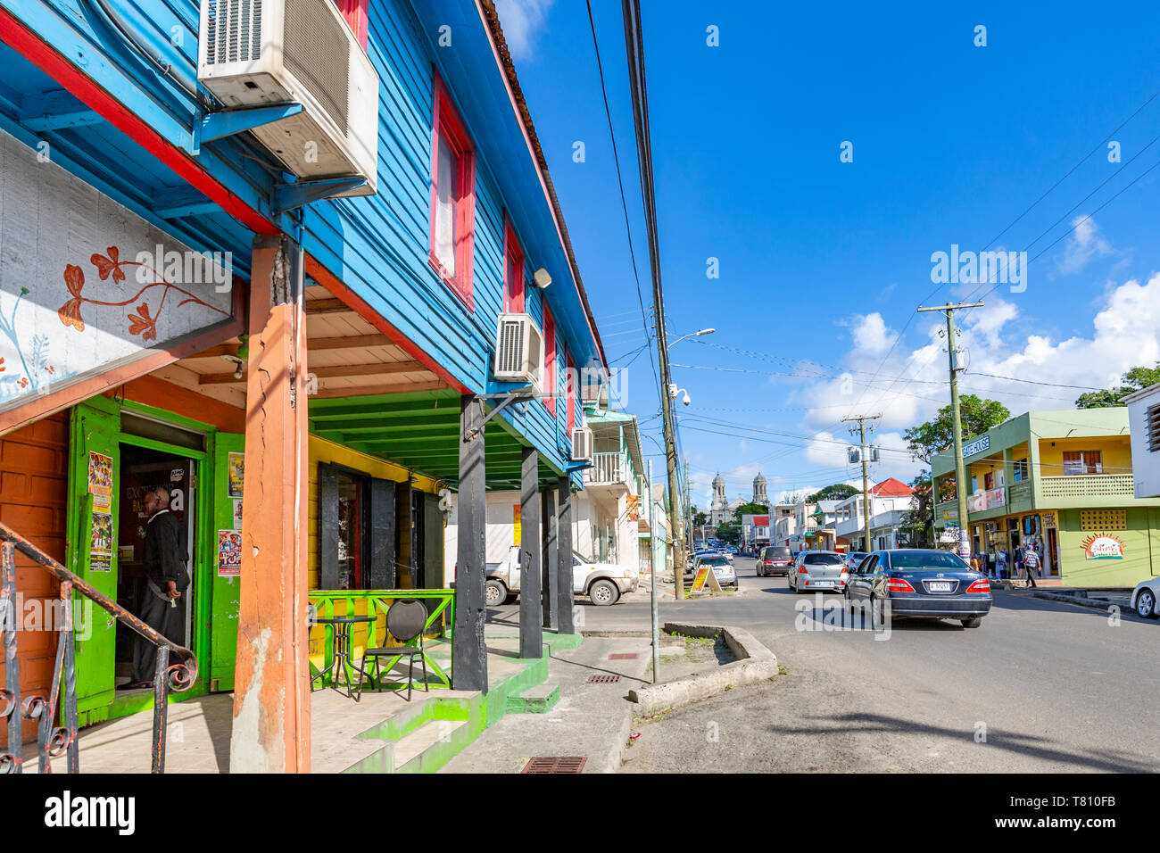 View of shop and Cathedral on Newgate Street, St. John's, Antigua, West Indies, Caribbean, Central America Stock Photo