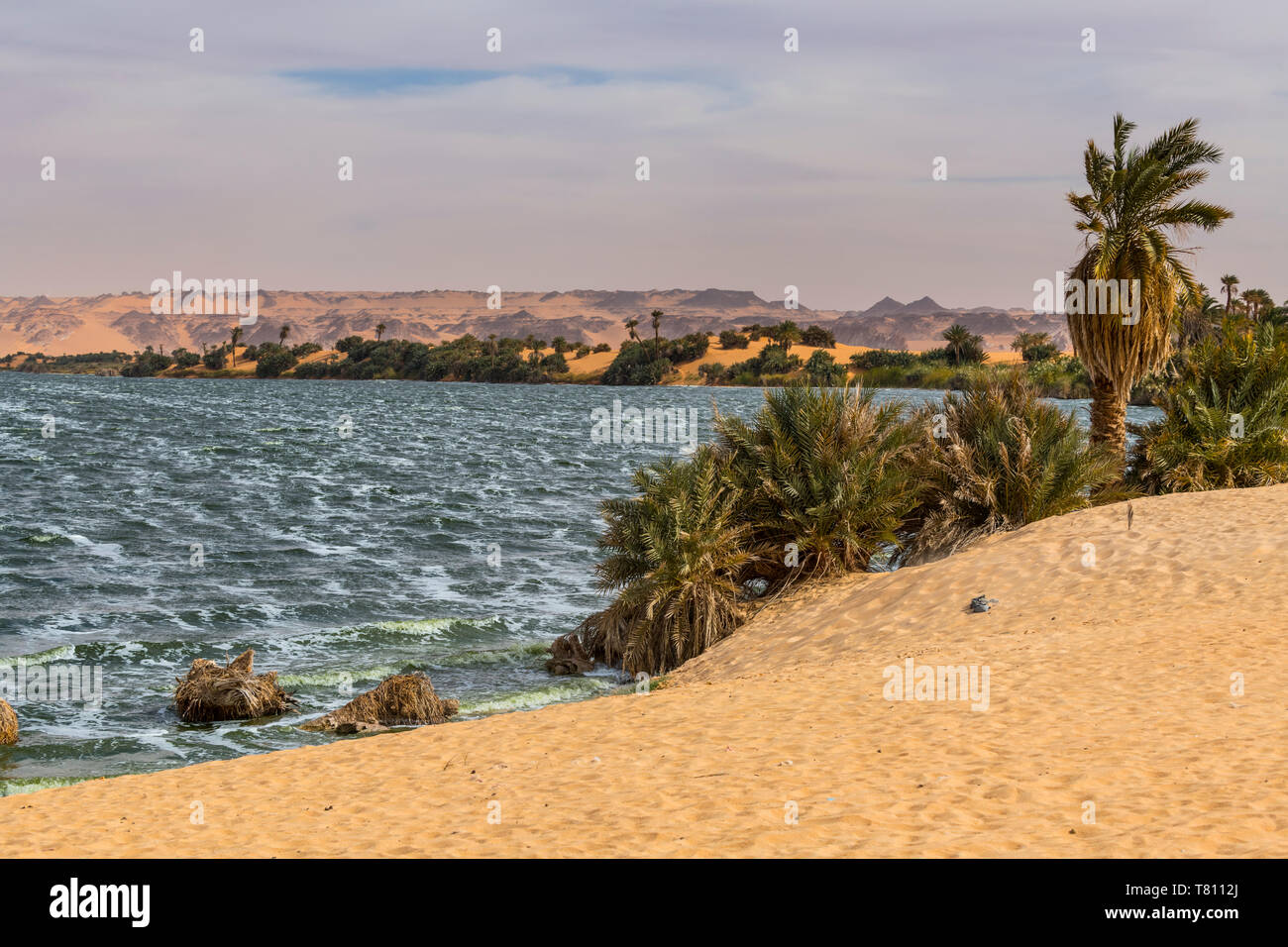 Ounianga Sebir part of the Ounianga lakes, UNESCO World Heritage Site, northern Chad, Africa - Stock Image
