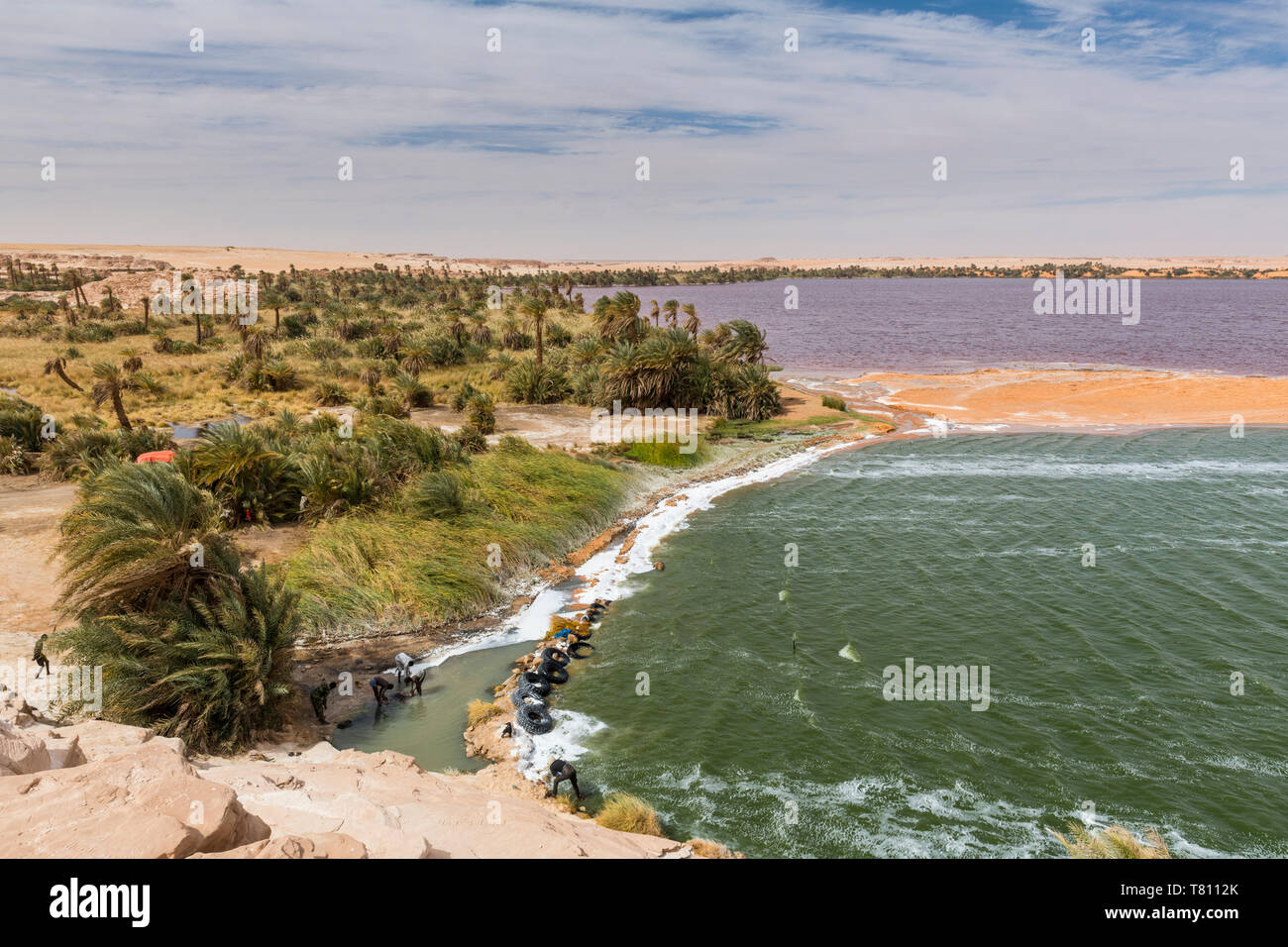 Two coloured lake, part of the Ounianga lakes, UNESCO World Heritage Site, northern Chad, Africa - Stock Image