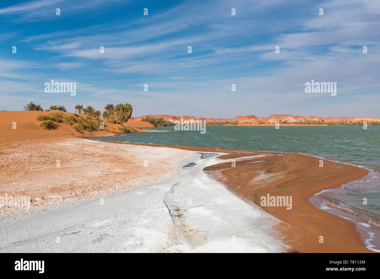 Salt crust at the shores of Ounianga Kebir part of the Ounianga lakes, UNESCO World Heritage Site, northern Chad, Africa - Stock Image