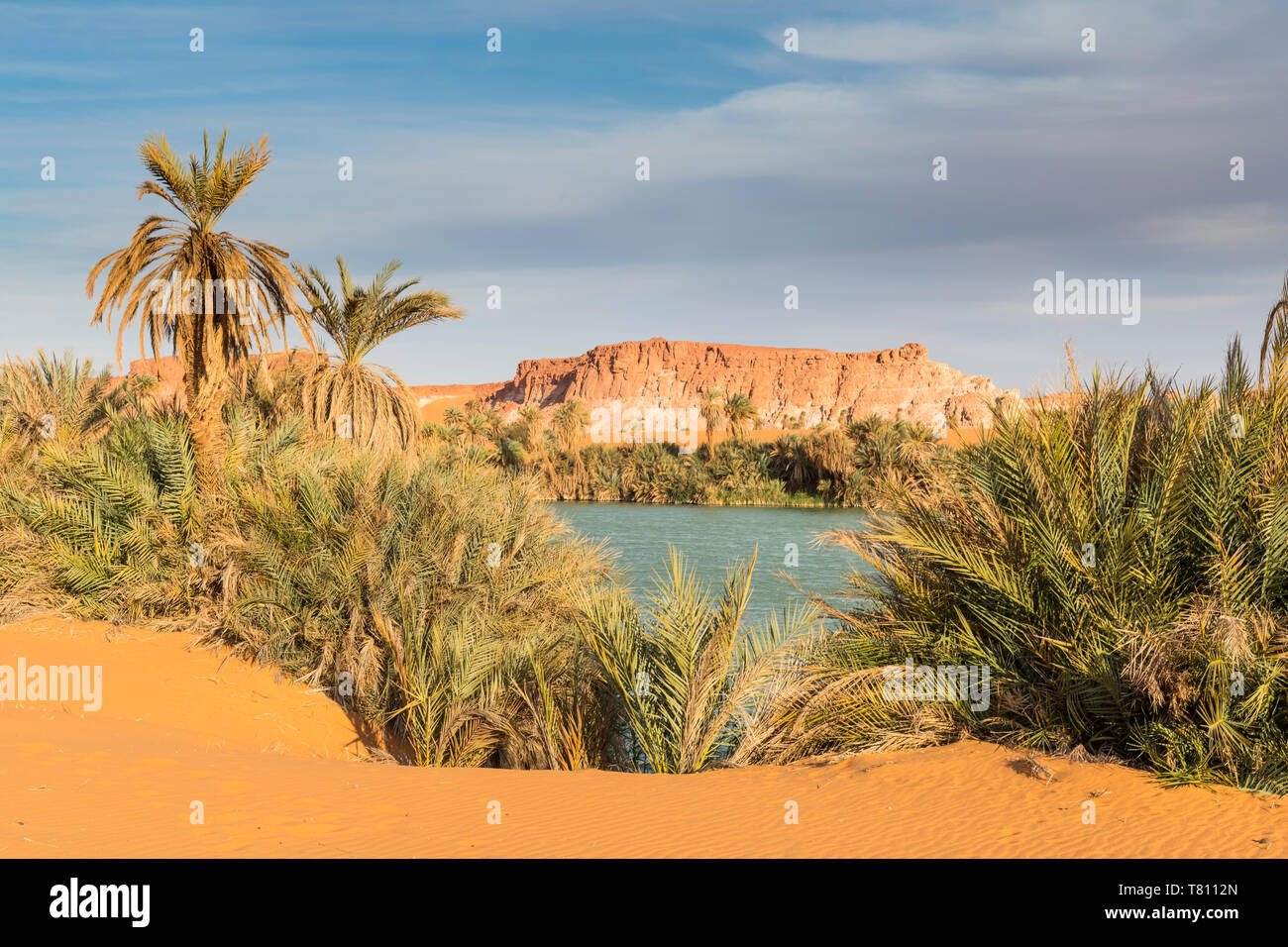 The shore of Ounianga Kebir part of the Ounianga lakes, UNESCO World Heritage Site, northern Chad, Africa - Stock Image