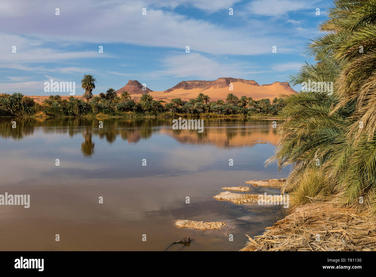 Salt water lake in Northern Chad, Africa - Stock Image