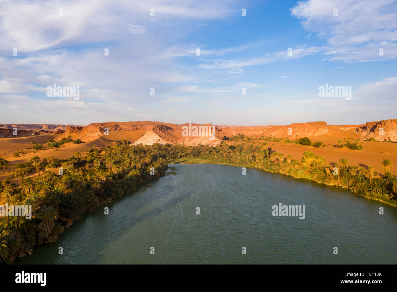 Aerial of the Ounianga lakes, UNESCO World Heritage Site, northern Chad, Africa - Stock Image