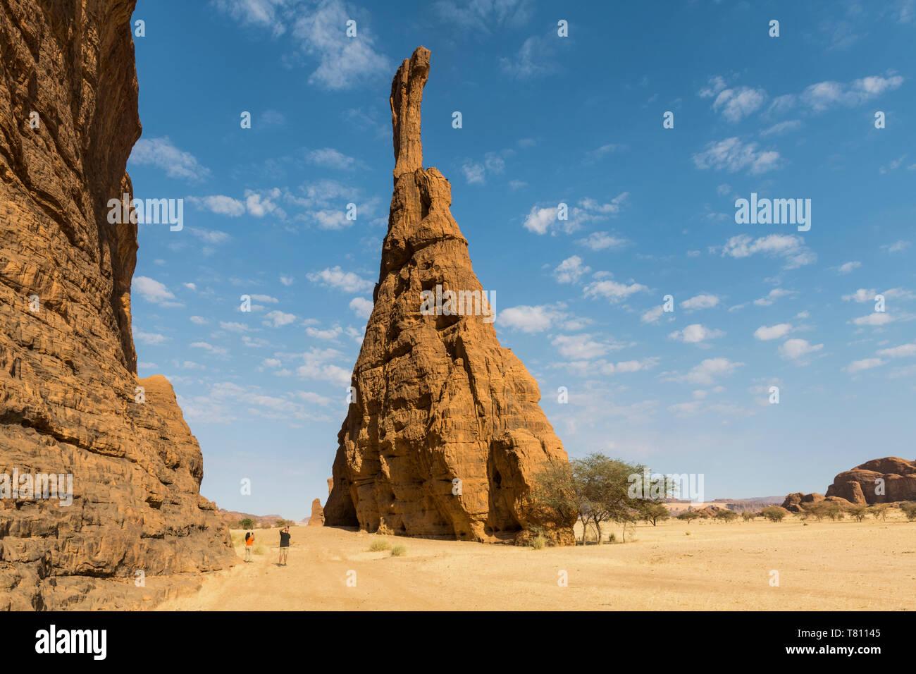 Massive single rock tower, Ennedi Plateau, UNESCO World Heritage Site, Ennedi region, Chad, Africa Stock Photo