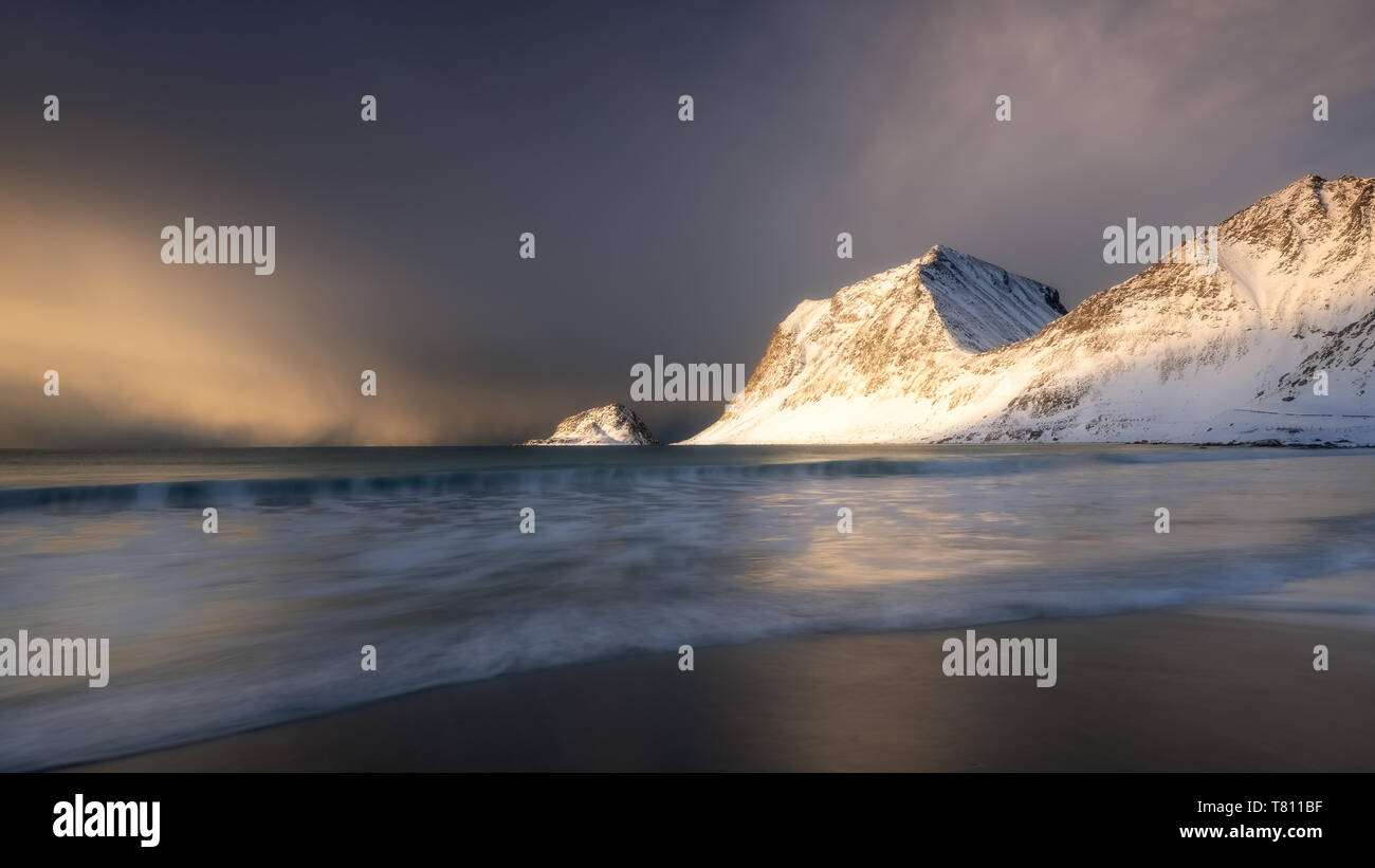 A dramatic Haukland Beach, Lofoten, Nordland, Norway, Europe Stock Photo