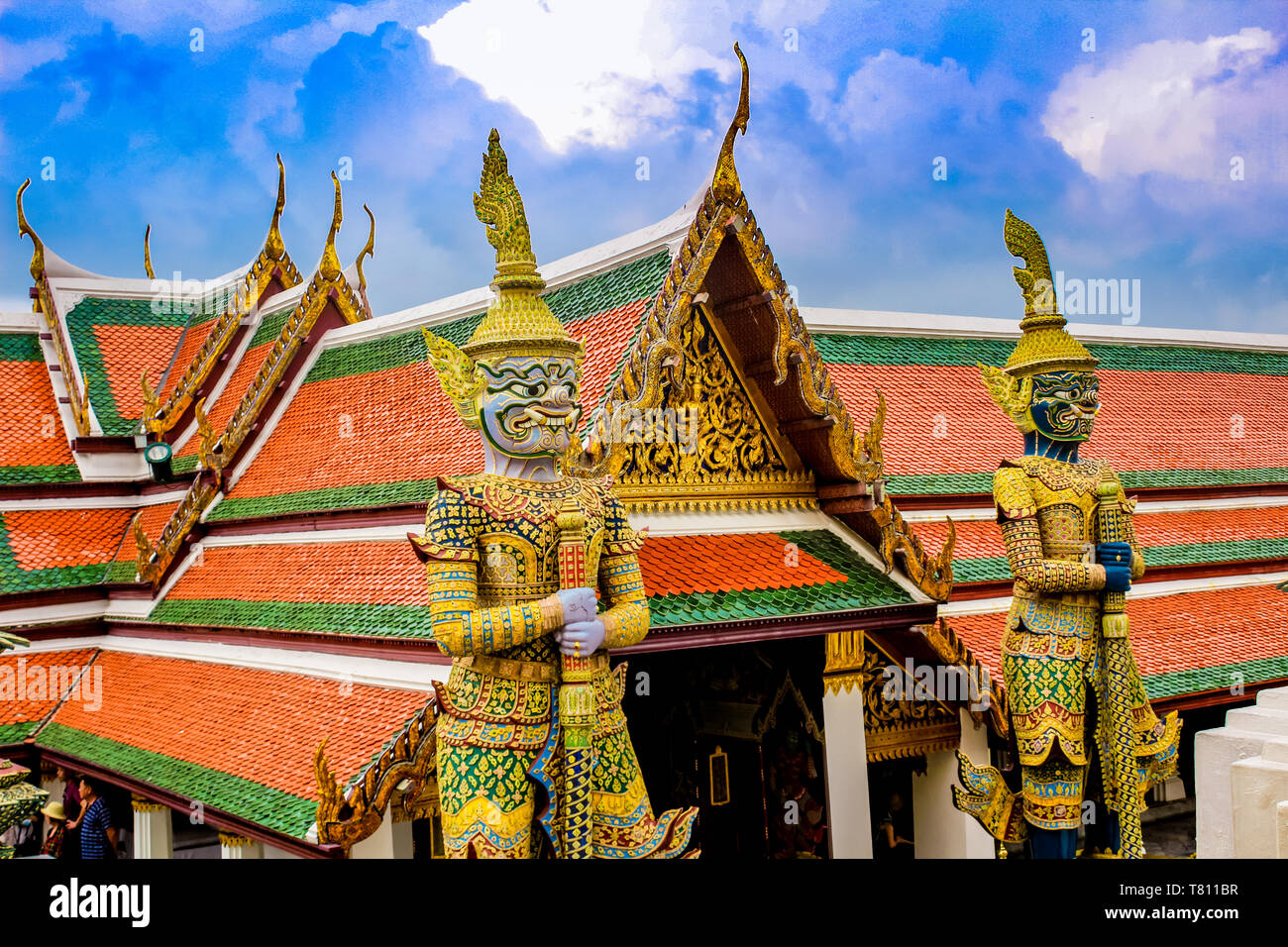 Detail of guardian statues, Grand Palace and Wat Phra Kaew (Temple of the Emerald Buddha) complex, Bangkok, Thailand, Southeast Asia, Asia Stock Photo