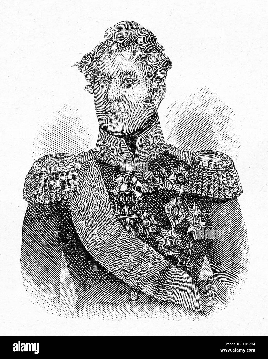 Count Mikhail Andreyevich , Russian general of Serbian origin, prominent during the Napoleonic Wars. Digital improved reproduction from Illustrated overview of the life of mankind in the 19th century, 1901 edition, Marx publishing house, St. Petersburg - Stock Image