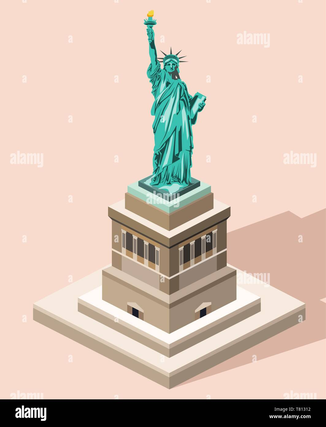 vector 3d isometric icon of Statue of Liberty with flat style colored background and shadow Stock Vector