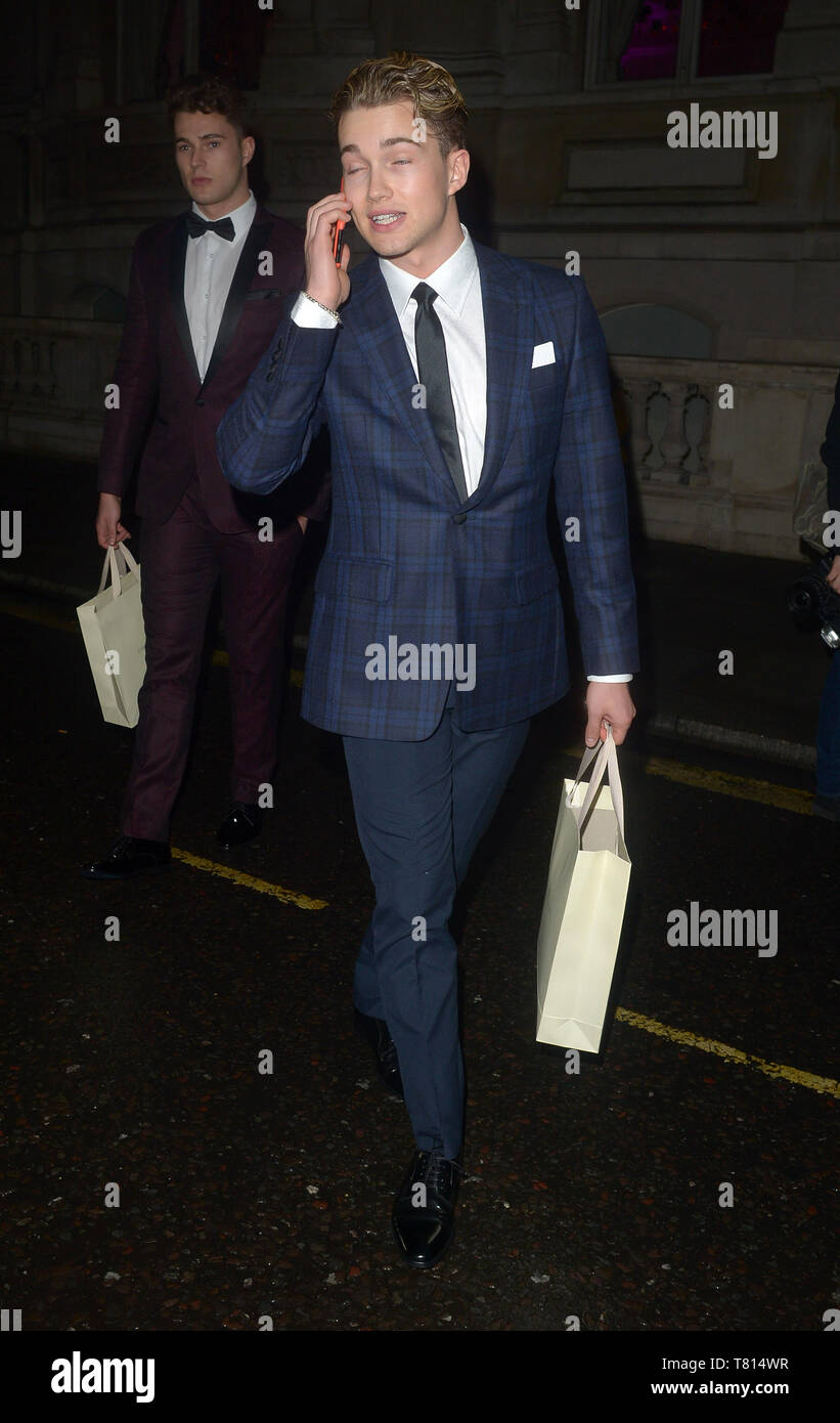 Various celebrities seen leaving Football For Peace Initiative Dinner  Featuring: Aj Pritchard Where: London, United Kingdom When: 09 Apr 2019 Credit: WENN.com - Stock Image