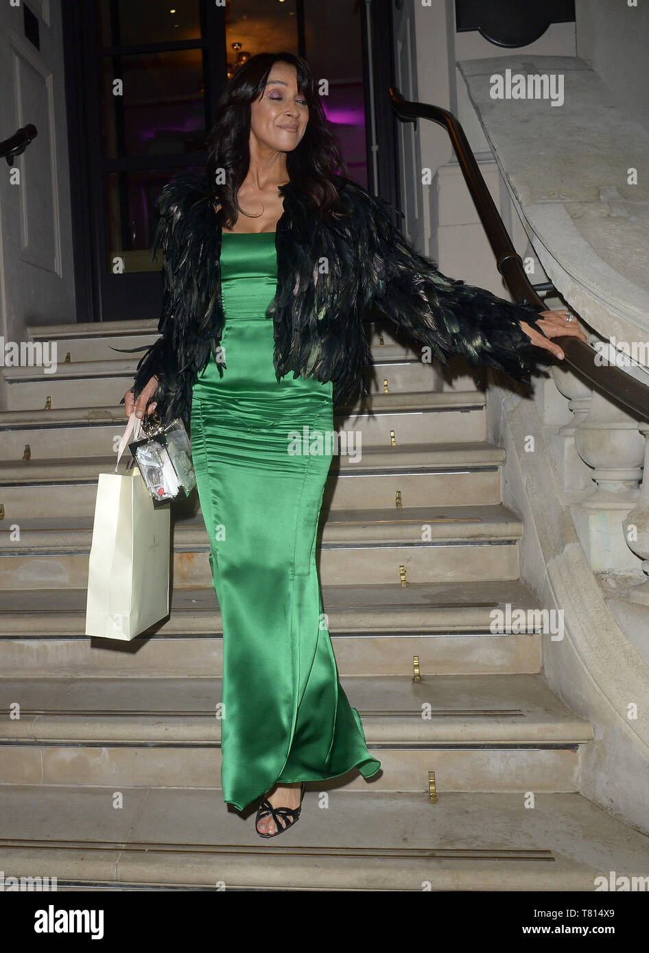 Various celebrities seen leaving Football For Peace Initiative Dinner  Featuring: Jackie St Clair Where: London, United Kingdom When: 09 Apr 2019 Credit: WENN.com - Stock Image