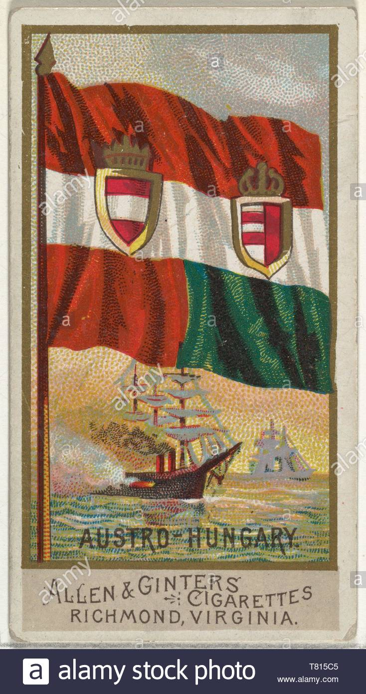 Allen  , Ginter-Austro-Hungary, from Flags of All Nations, Series 2 (N10) for Allen  ,amp, Ginter Cigarettes Brands - Stock Image