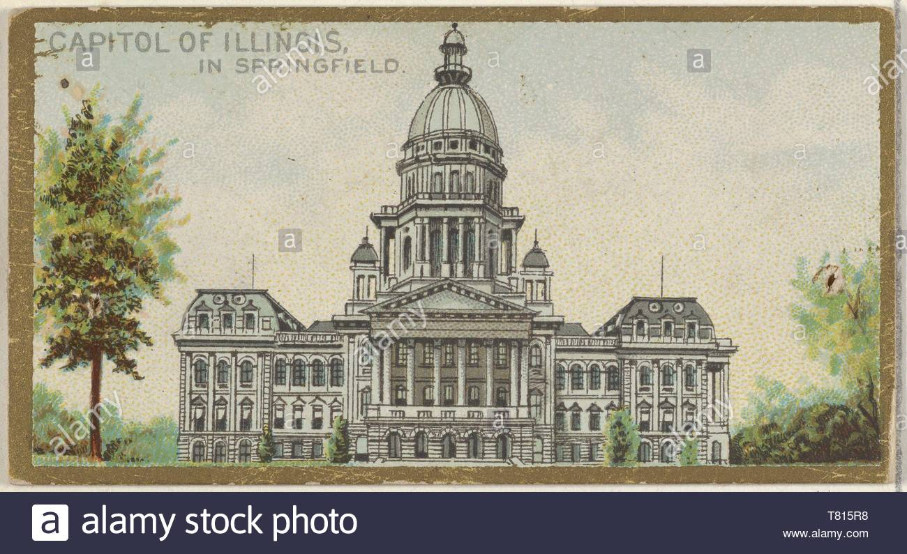 Allen  , Ginter-Capitol of Illinois in Springfield, from the General Government and State Capitol Buildings series (N14) for Allen  ,amp, Ginter Cigarettes Brands - Stock Image