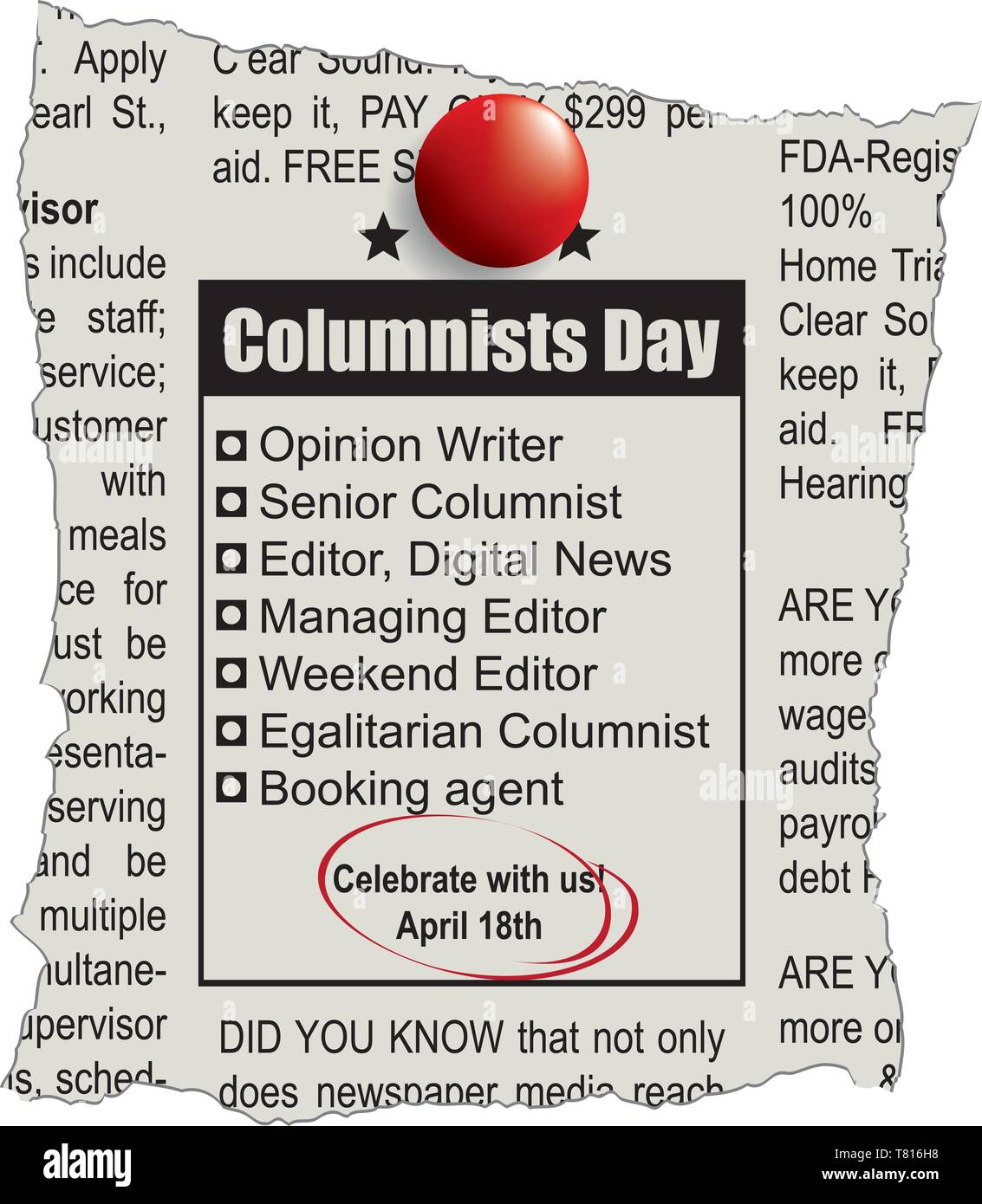 Scrap of the newspaper page with the Columnists Day Announcement - Stock Vector