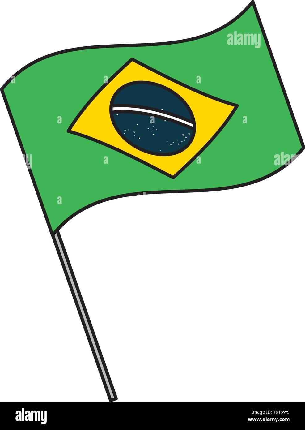 brazil flag symbol - Stock Vector