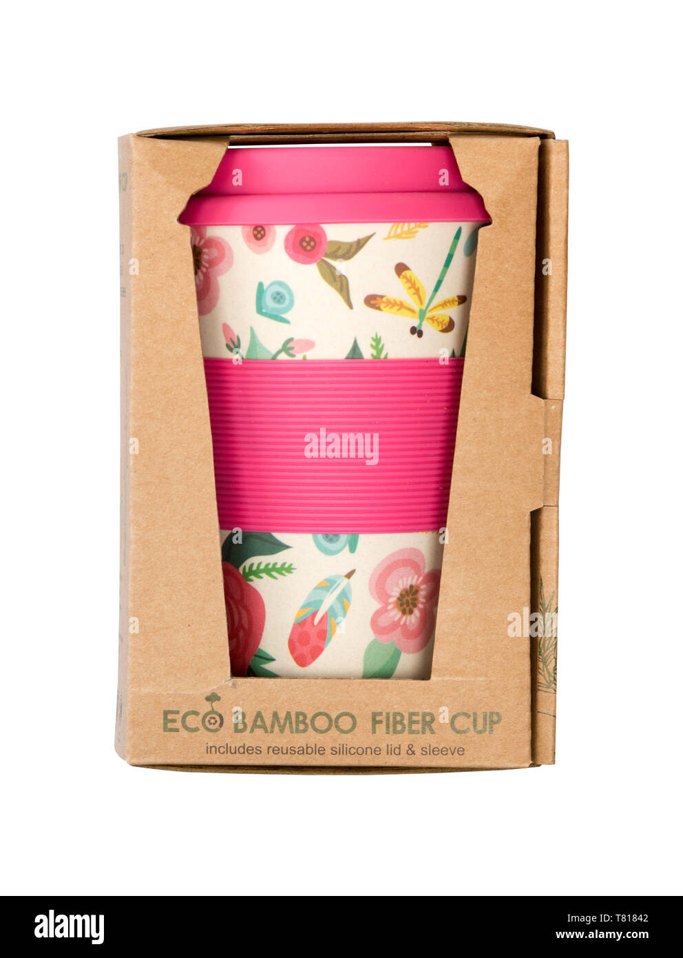 Re-usable Bamboo pulp coffee cup to replace the use and throw non recyclable cups - Stock Image