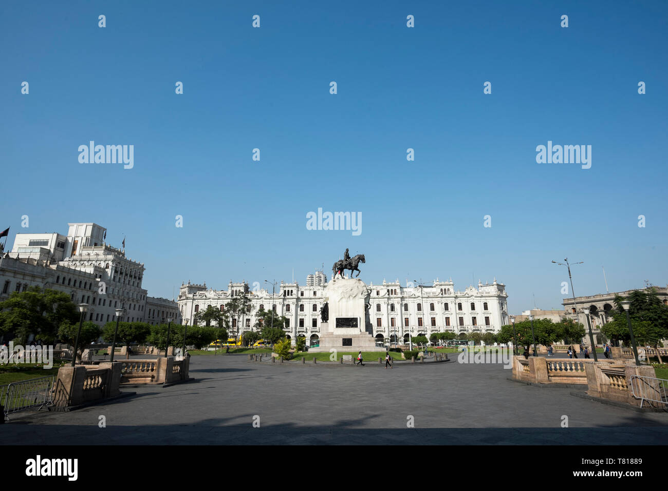 View of the Plaza San Martin in the Historic Centre of Lima, Peru, a UNESCO World Heritage Site. - Stock Image