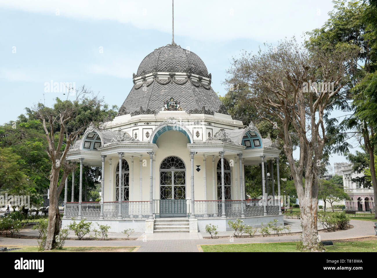 View of classic bizantine built in Exposition park, Lima, Peru. - Stock Image