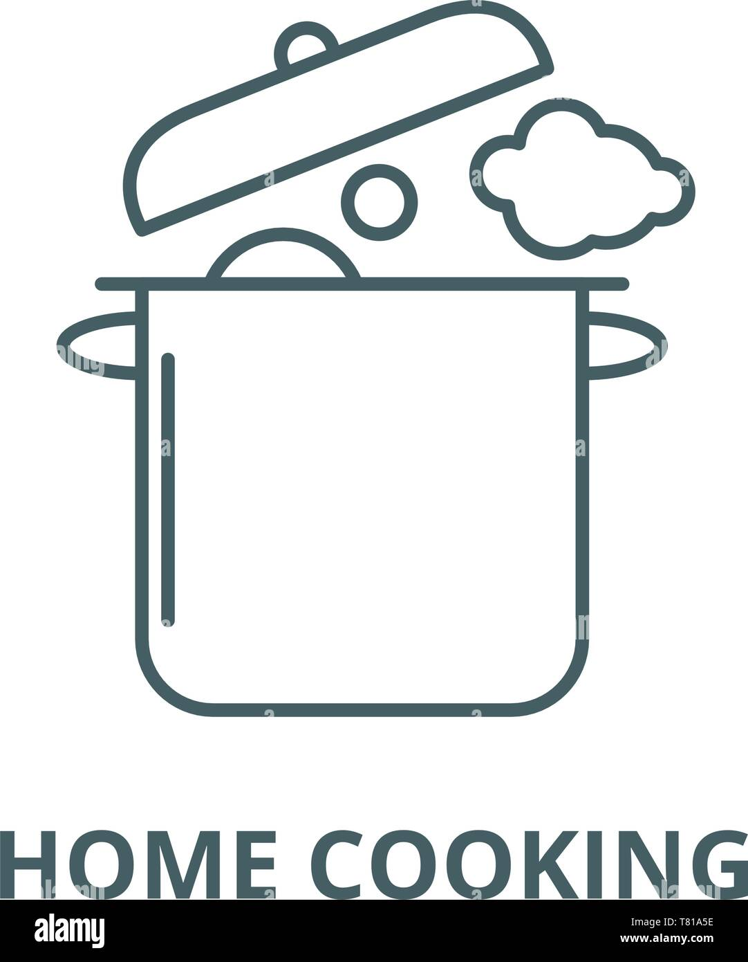 Home cooking vector line icon, linear concept, outline sign, symbol - Stock Image