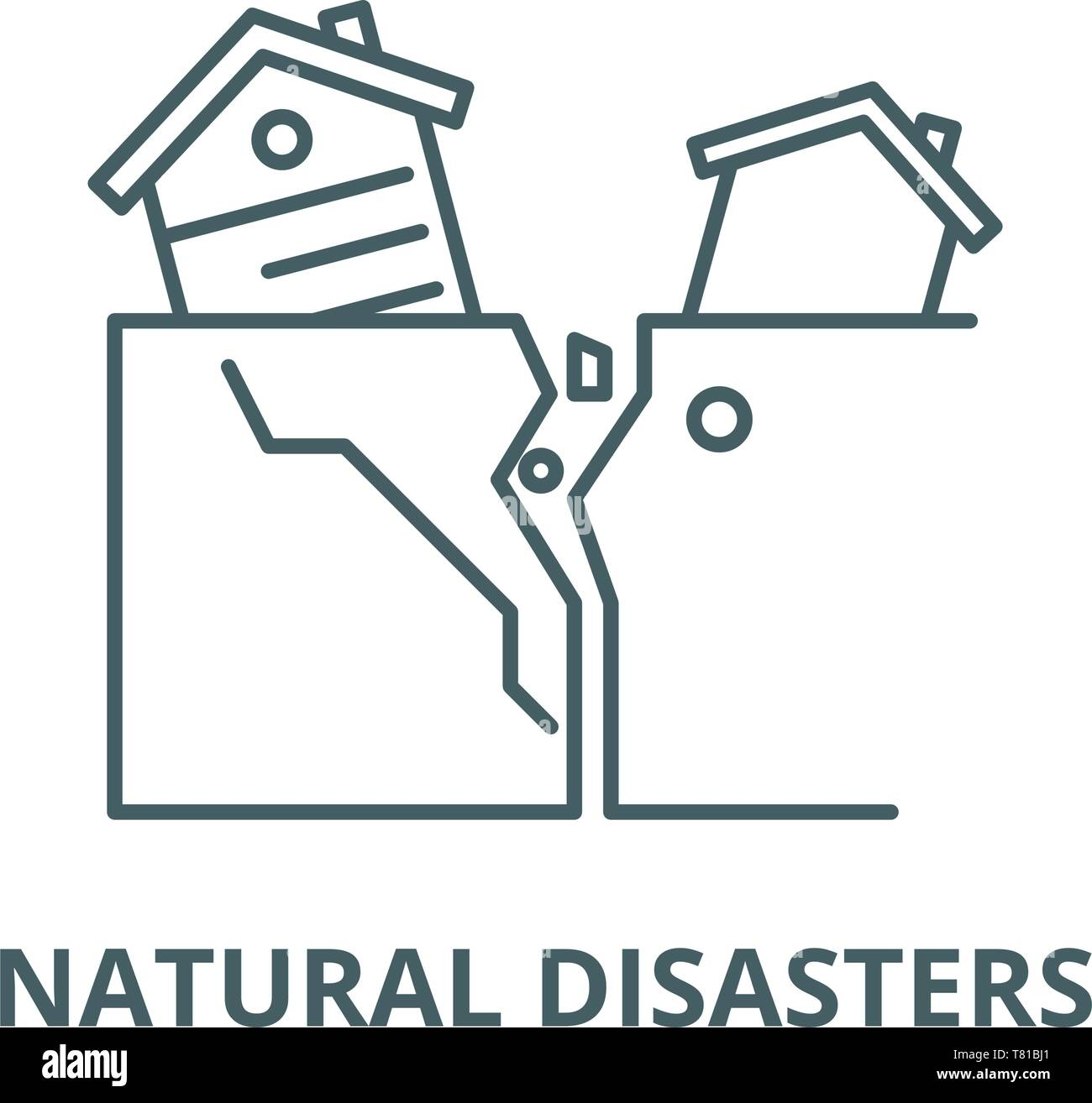 Natural disasters vector line icon, linear concept, outline sign, symbol Stock Vector