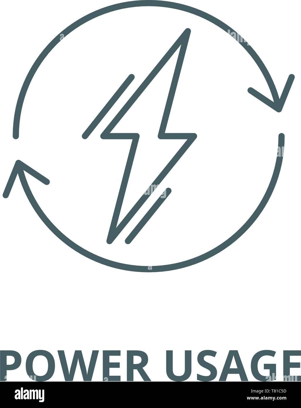 Power usage vector line icon, linear concept, outline sign, symbol - Stock Image