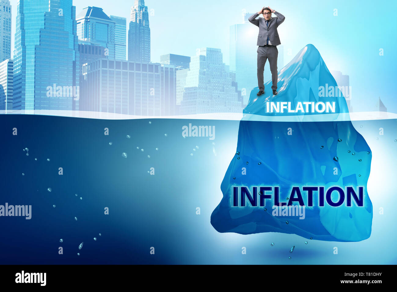 Businessman in inflation concept wih iceberg - Stock Image
