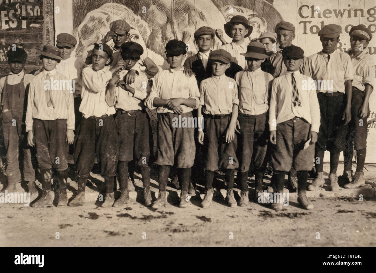 A few of the San Antonio messengers. See Hine report on messenger service of Texas. Edgar Barnes is one of the smallest in front row. The messengers and their contact with the Red Light districts, in most of the large cities of Texas, is one of the worst phases of child labor in the state. Location: San Antonio, Texas. 1913 - Stock Image