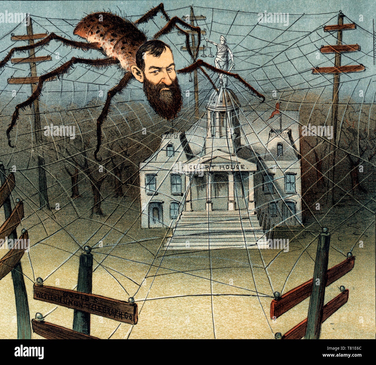 Justice in the web - Political Cartoon shows Jay Gould as a spider on a web of 'Western Union' telecommunication lines that extend from several utility poles and cover (ensnare) Justice atop a 'Courthouse'. 1885 - Stock Image