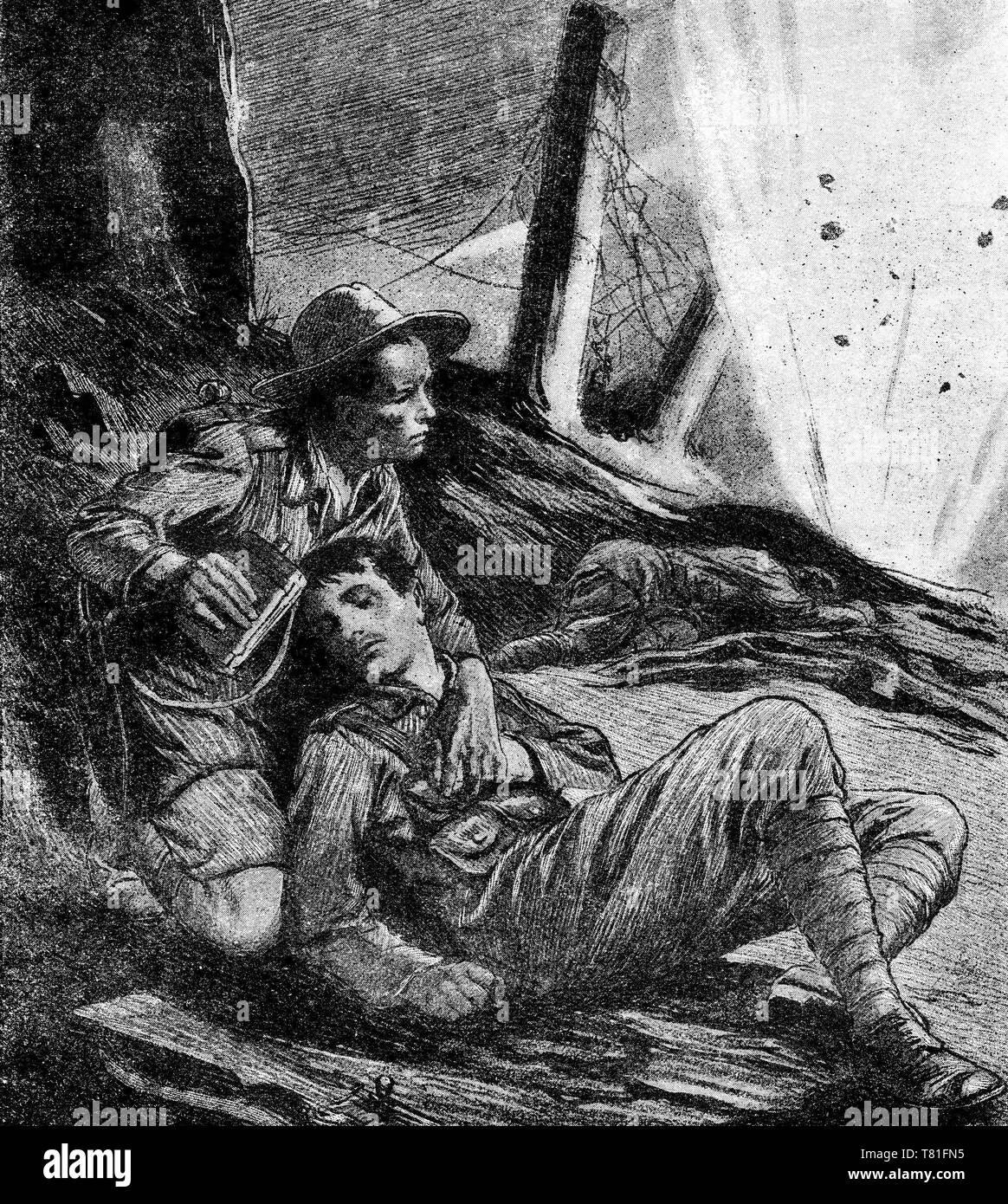 halftone of a Ghurka giving some water to a British soldier on the battlefield. From Chatterbox magazine, 1917 - Stock Image